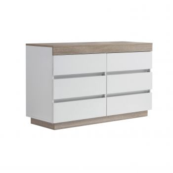 Coastal White Wooden Chest of 6 Drawers