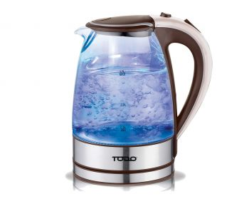 TODO 1.7L Glass Cordless Kettle 2200W Blue Led Light Electric Water Jug Coffee