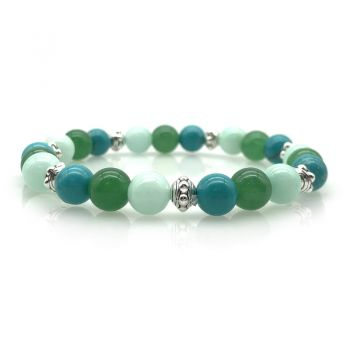 8mm Natural Turquoise, Green Aventurine & Malaysia Jade with Antique Silver Beaded Stretchy Bracelet
