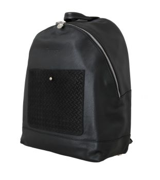 Billionaire Italian Couture Black Leather Backpack Bag