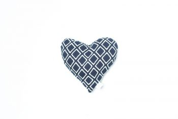 MOG AND BONE PRINTED HEART SOFT TOY NAVY IKAT