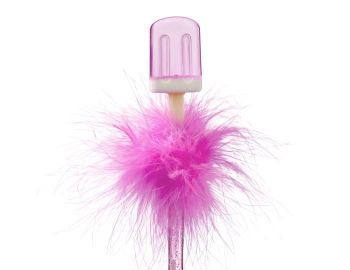 Ice Lolly Feather Pen - Pink