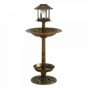 Ornamental Solar Light Garden Ornaments Bird Bath Feeder Feeding Food Station