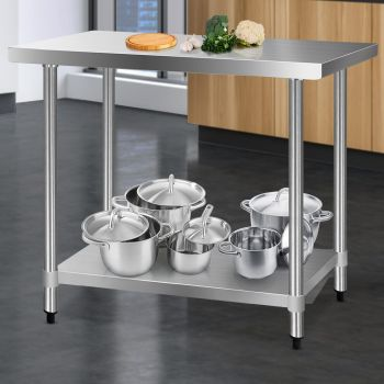 Cefito 1219x610mm Stainless Steel Kitchen Benches Work Bench Food Prep Table 304 Food Grade Stainless Steel