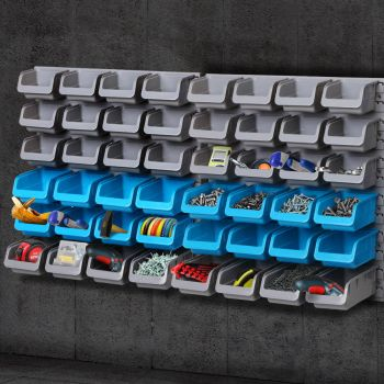 Giantz 48 Storage Bin Rack WallMounted Garage Tool Parts Organiser Shelving