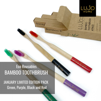 Bamboo toothbrushes - Pack 4 SPECIAL EDITION Dark Green, Purple, Black and Red