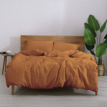 Natural Home European Flax Linen Quilt Cover Set Rust Single Bed