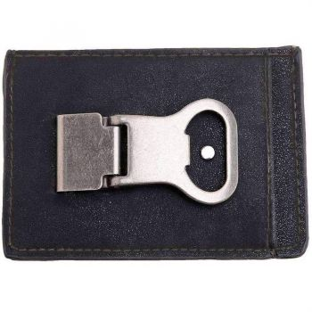 Black  Money Clip With Beer Opener