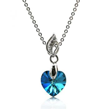 Gorgeous Xillion Heart Bermuda Blue Colour Adorned with  Swarovski® Crystal & CZ Silver Plated Pendant Necklace
