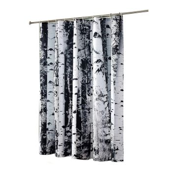 Brich Print Waterproof Shower Curtains with 12 hooks 180 x200cms