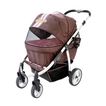 Ibiyaya Collapsible Elegant Retro Pet Stroller for Cats & Dogs up to 35kg - Brown/Pink