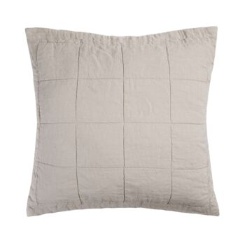 Linen Quilted Euro Pillow Sham Pebble