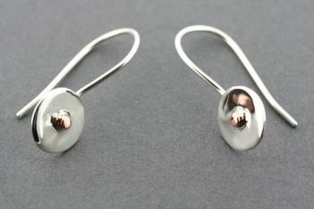 small silver & copper disc earring - sterling silver