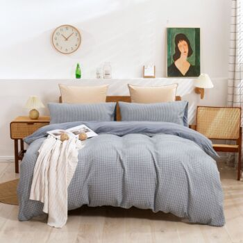 Dreamaker Reversible Cotton Waffle Jersey Knit Quilt Cover Set Queen Bed Charcoal