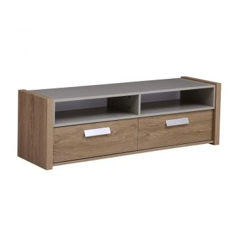Van Goh Industrial TV Stand Cabinet Entertainment Unit - Natural / Cement Grey