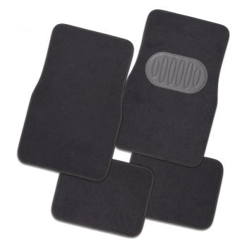 Pilot Automotive Grey Luxury Universal Car Floor Mat Carpet - Set Of 4