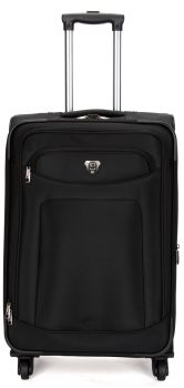 Swiss  Luggage Suitcase Lightweight with  8 wheels 360 degree rolling SoftCase  SN8109C-Black