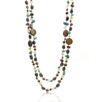 Opera Style Turquoise, Mother Of Pearl, Freshwater Pearls & Crystal Beads Japanese Silk Cord Necklace