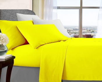 Queen Bed Soft Brushed Microfibre Sheet Sets in Yellow
