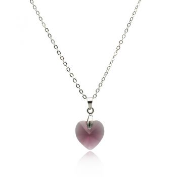 Stunning Amethyst 'Xillion' Heart Pendant Necklace Adorned With Swarovski® Crystals