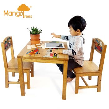 Kids Timber Table Chairs Set Airplane Design Toddler Children Study Desk