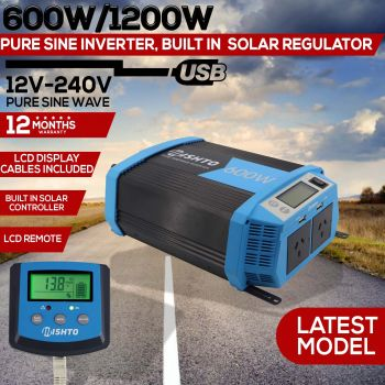 Power Inverter 600W 1200W Solar Controller Charger 20A Pure Sine Wave 12V 240V
