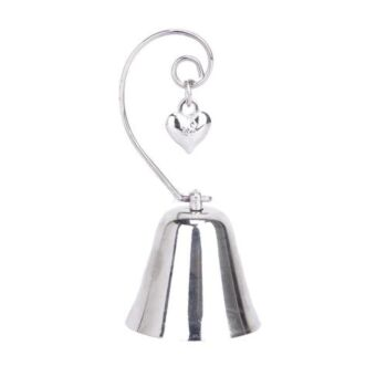 25 Pack - Silver Bell - Deluxe Name Card Holder - Hanging Heart in Loop - Wedding Bomboniere Favour Keep Sake Kissing Bell