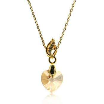 Gorgeous Xillion Heart Golden Shadow Colour Adorned with  Swarovski® Crystal & CZ Gold Plated Pendant Necklace