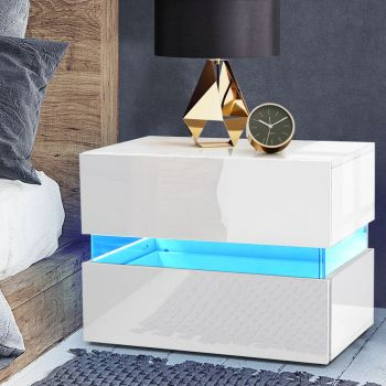 Bedside Tables Drawers RGB LED Side Table White Gloss Nightstand Cabinet