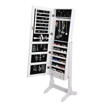 Levede Standing Mirror Jewellery Cabinet for Storage in White