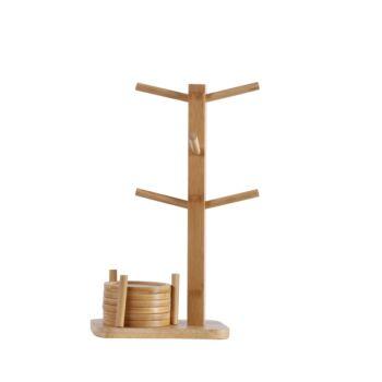 Gourmet Kitchen Bamboo Tea and Coffee Cup Rack with 6 Coasters - Natural Brown - 20x10x37cm