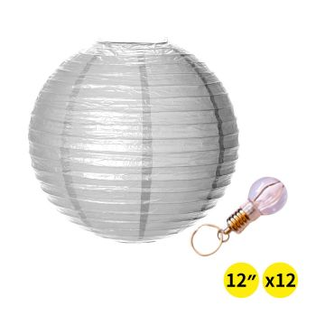 """Accents 12"""" Paper Lanterns for Wedding Party - Silver Colour"""