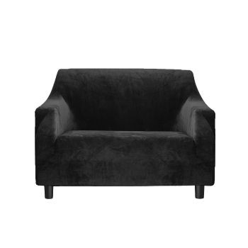 Couch High Stretch Sofa Cover Protector Recliner Slipcover 1 Seater in Black