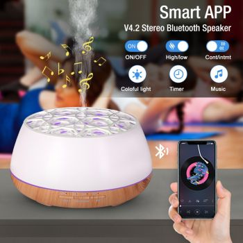 400Ml Bluetooth Humidifier Aromatherapy Diffuser Ultrasonic Led Speaker Dome - White
