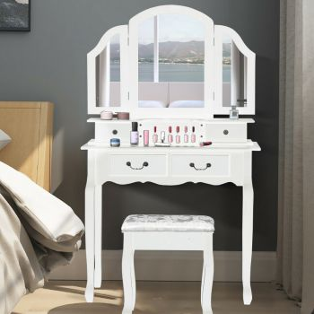 Levede Dressing Table and Stool Set with Mirror for Jewellery and Makeup Storage