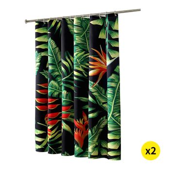 Palm Tree Print Shower Curtain with 12 hooks 180 x 200cms for 2pcs