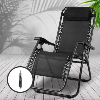 Zero Gravity Chair Outdoor Chairs Beach Lounger Portable Reclining Sun Lounge Folding Camping Black