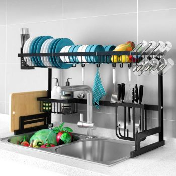 2-Tier 95cm Stainless Steel Kitchen Shelf Organizer Dish Drying Rack Over Sink