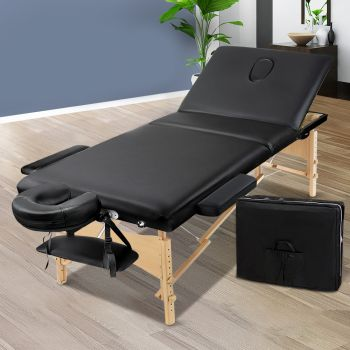 Zenses 70CM Wide Wooden Portable Massage Table 3 Fold Beauty Therapy Bed Waxing BLACK