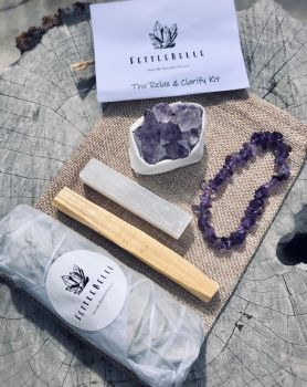Amethyst Crystal Cluster Relax & Clarify Smudge Kit