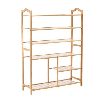 Levede Bamboo Shoe Rack Wooden Organizer 6 Tiers Layers 80cm