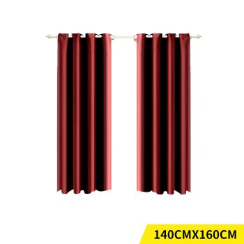 2x Blockout 3 Layered Eyelet Fabric Curtain 140x160cm in Burgundy