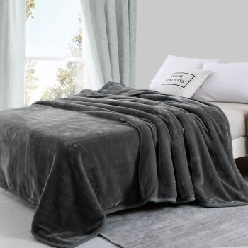 Queen Size Two-Ply Mink Blanket 750GSM Winter Warm in Charcoal