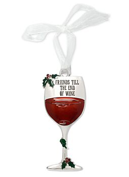 Xmas Deco Wine Glass Friends Till The End Great for a Gift or to hang on the Tree