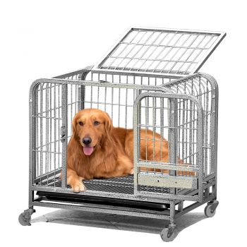 PaWz Portable Pet Cage Puppy Playpen Collapsible Kennel Wheels In Large