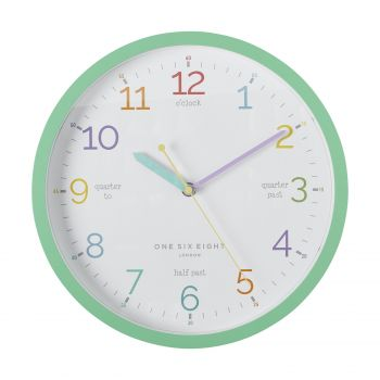 LEARN THE TIME Mint 30cm Silent Wall Clock