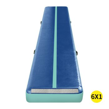 6x1M Inflatable Air Track Mat for Home Gymnastics in Blue