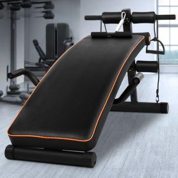 Adjustable Sit Up Weight Bench 05 Weights Fitness Home Gym Exercise Steel Frame
