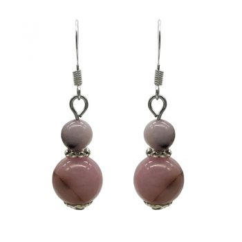 6-10mm Natural Round Cherry Blossom Jasper Silver Plated Drop Earrings
