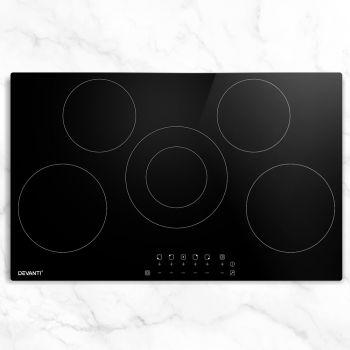 Devanti 90cm Ceramic Cooktop Electric Cook Top 5 Burner Stove Hob Touch Control 6Zones